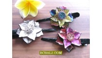hair slides accessories made from leather flowers
