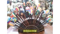 handpainted wood hair stick hand painting ethnic