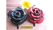 leather flower designs hair slides two colors jewelry