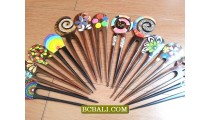Accessories hair stick hand painted organic wooden