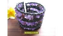 Bali Stone Beaded Cuff Bracelets Double