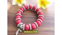 Acrilic Stone Beaded Charms Bracelets Stretched