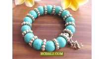 Balinese Stone Beads Bracelets Charms Stainless