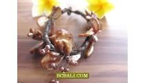 Beaded Seashells Bracelets Flowers Style Handmade