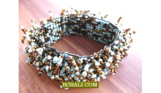 Mix Coloring Hairy Beads Bracelets Stretch Fashion