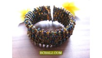 Bali Glass Beads Golden Color Bracelets Cuff