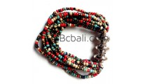 bali beads color multi strand bracelets stretch