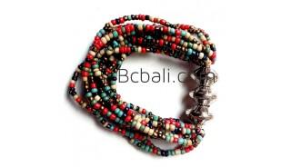 bali beads color multi strand bracelets stretch