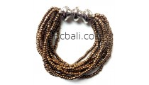 bali golden beads multi strand bracelets stretches