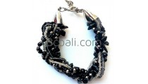 bali black stone crystal bracelets fashion