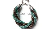 bali glass beads handmade bracelets two colors