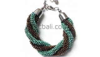 bali glass beads handmade bracelets two colors