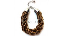 golden glass bead handmade bracelets stainless charming