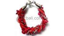 red stone beads bracelets charm accessories bali