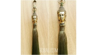 buddha head bronze gold tassels caps keyrings bali green