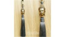 buddha head bronze gold tassels caps key ring bali grey