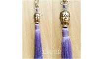 buddha head bronze gold tassels caps key ring bali purple