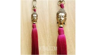 budha bronze gold tassels caps key ring bali red