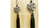key rings tassels polyester silver bronze caps flower