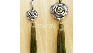 key rings tassels polyester green bronze caps flower