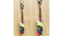 multi tassels key chains charms polyester bali mix color
