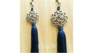 tassel polyester silver bronze flower keychain blue