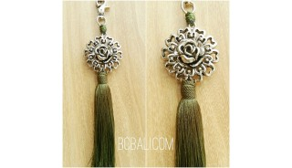 tassel polyester silver bronze flower keychain green