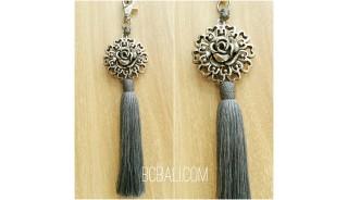tassel polyester silver bronze flower caps keychain grey