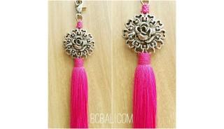 tassel polyester silver bronze flower keychain pink