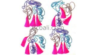 bali doff bead necklace long seed tassel pendant fashion