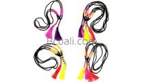 long strand tassel necklace bali bead glass