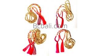 wooden bead ethnic untique tassel long strand