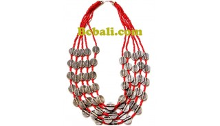 two color shown choker necklace 5strand bead charm