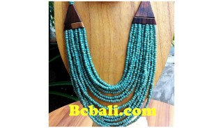 two color shown necklace chokers seed bead wood ethnic design.