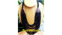 necklace choker multiple bead strand with wood