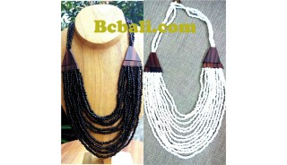 two color shown necklaces choker strand beading wooden ethnic design