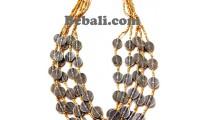 untique bead beige color 5strand necklace handmade bali