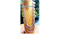 white beads boll necklace triangle strand silver