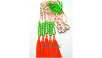 colorfull beading stone necklaces tassels fashion crystal