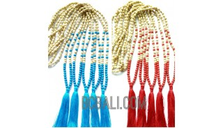 necklace tassels two color wooden beaded stones