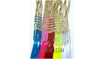 necklaces tassels all mix color wood bead with stones