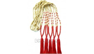 necklaces tassels two color wood bead natural with stones
