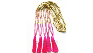 balinese necklaces tassels two color wooden bead with stone