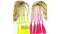 necklaces tassels two color wooden beading with stones