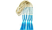 necklaces tassels two color wooden beads with stones