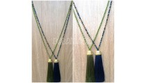 2color long seed crystal tassel necklace golden chrome