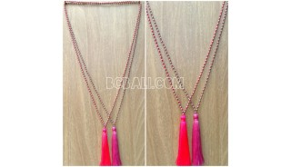 2color long seed crystal tassel necklace handmade bali