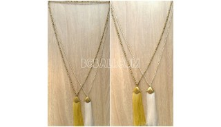 2color long seed mono tassel necklace handmade bali