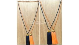 2color long strand crystal tassel necklace golden chrome