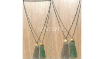 2color long strand crystal tassels necklaces chrome